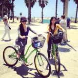 of friends and green bikes